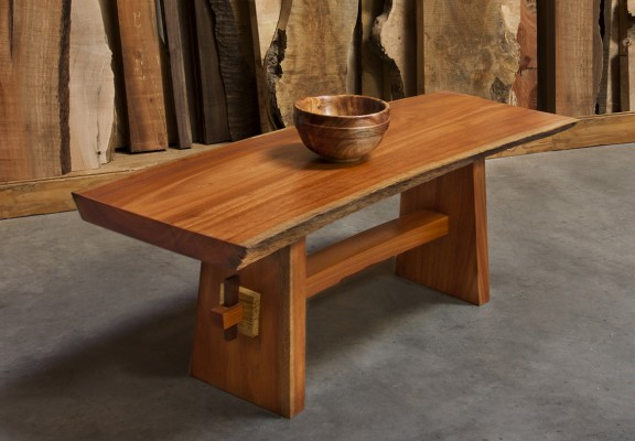 Ukelala curved bench/ iron bark eucalyptus with natural edges, spalted maple collars and granidino pins  / 48L x17w x18h