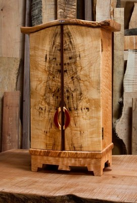 Alchemist cabinet  /spalted figured big leaf maple ,with pernanbuco pulls, abalone inlay, gold leaf interior panel  /  16w x22.25 h x8.25d