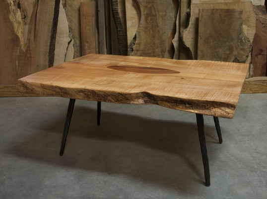 jetson table / figured big leaf maple, with koa inlay and hammered iron legs ./ 48l x40w x 18h