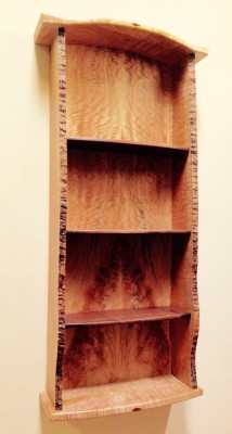 big blondie wall cabinet /figured big leaf maple and walnut shelves and pernambuco embellishments.  / 51h x 22w x9d