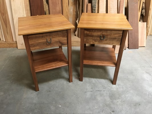 Hop-a-long night stands/ koa and canary with cherry drawers and silver horseshoe pulls  /21.5 x21.5 x 31h