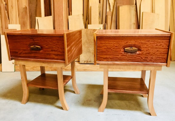 side tables. african mahogany, silver maple, canary trim, bubinga, and bacote pulls.heart tailed drawers    24wx30hx17.5d