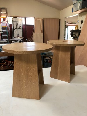 "end tables - charging stations - 1/4 sawn white oak with pernambuco inlays 20""h x2o"" w"