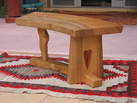 SqueakyCurved<br /> Figured Myrtle Bench<br /> with Koa heart inlay<br /> 39L x 14.25W x 17.25H