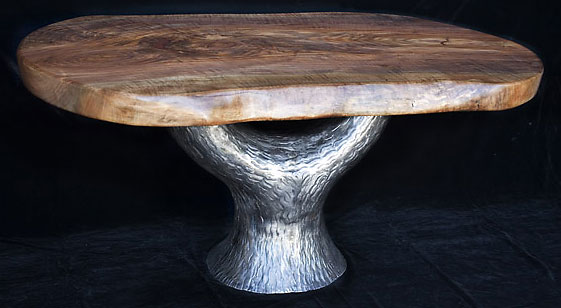 Tree of Life<br /> Figured California Walnut Table with Hammered, Forged Iron Tree Base<br /> 66L x 41W x 31H