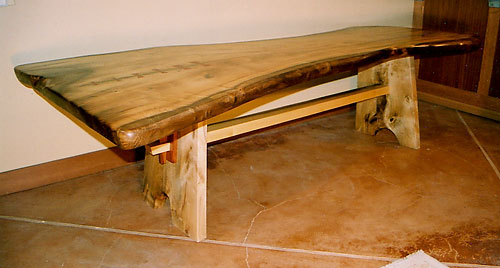"Myrtle Conference/Dining Table<br /> Figured Myrtle with Bubinga Collars<br /> 9'L x 42""-54""W x 31""H"