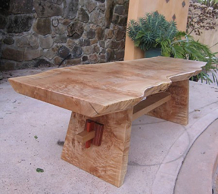 Mapeline<br /> Coffee Table <br /> Figured Reclaimed Maple Slab with Bubinga and Pernanbuco Collars<br /> 60L x 18W x 18H