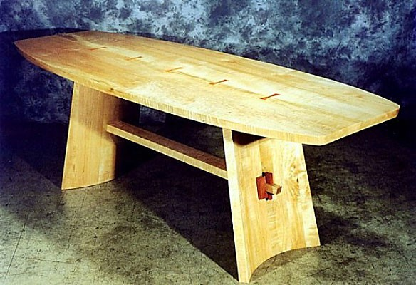 Altar or Dining Table<br /> Tigered Maple, Bubinga collar and Pernanbuco pins Oval with Pernanbuco butterfly dovetail inlay.<br /> 84L x 33W x 30H
