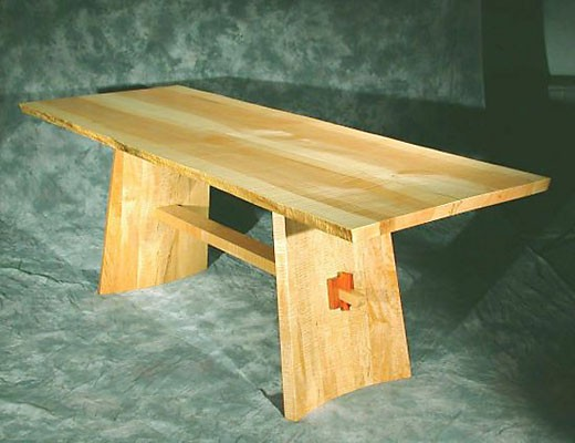 Natural Edge Tiger-Maple Table with Coopered Base<br /> <br /> Inspired by the works of George Nakashima, this table blends craftsman elements with subtle oriental flavors to create a beautifully appealing look. The table top is made using thick boards of tiger-strip
