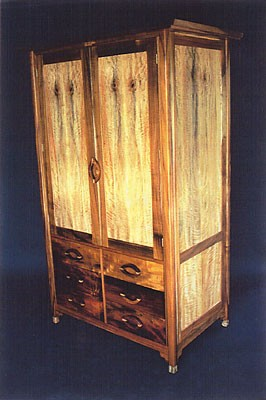 Mango Mama<br /> Entertainment Center or Armoire<br /> Figured Koa with Figured Mango Panels