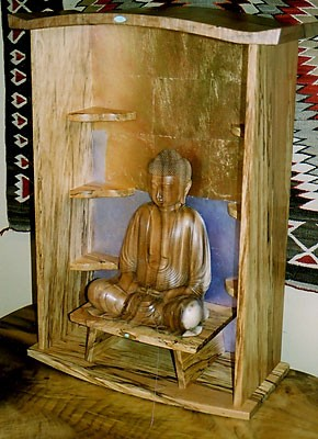 "Buddha Altar<br /> Spalted Beech & Figured Maple with Turquoise Inlay<br /> Gold & Silver Leaf with Purple & Rose Oil Wash<br /> 30""H x 12""D x 23""W"
