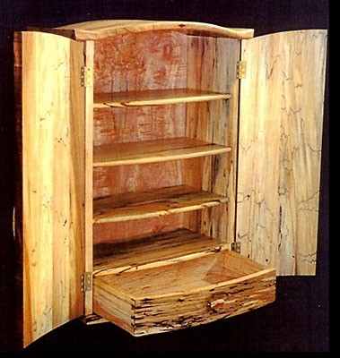 Inside View Wall Cabinet<br /> Spalted Maple and Beech with Peranbucco and Koa embellishments<br /> 35H x 24W x 12D