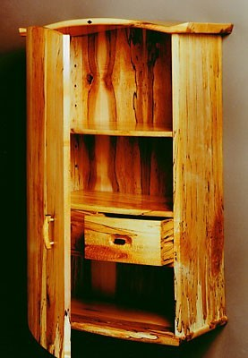 Inside View Wall Cabinet<br /> Spalted Sugar Maple with Peranbucco and Koa embellishments<br /> 35H x 24W x 12D