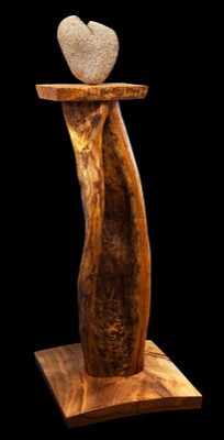 "Heart to Find<br /> Bay Laurel Base, Lodgepole Pine body, Tigered Western Maple perch, Granite heart<br /> 62"" H x 24"" W<br />"