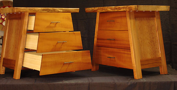 "Tanzus<br /> Figured Koa, Curly Cherry panels, Silver Maple tops, Bamboo drawers, Brass Bamboo pulls<br /> 34.5""W x 24""D x 32""H"